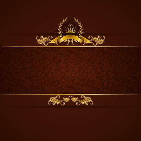 gold brown: Elegant golden frame banner with gold crown, laurel wreath on ornate brown background. Luxury floral background in vintage style. Vector illustration EPS 10. Illustration