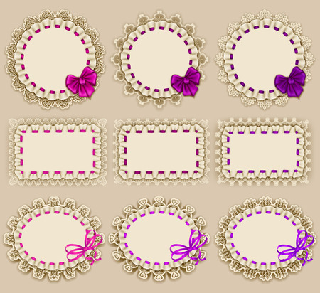 frill: Set of elegant templates of frame design for luxury invitation, gift card with ruffles, bow, place for text. Vector illustration EPS10