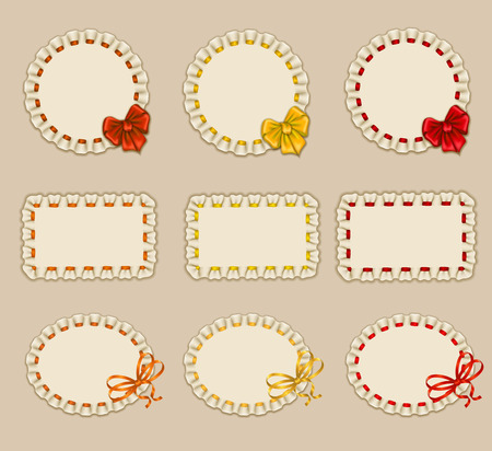 a frill: Set of elegant templates of frame design for luxury invitation, gift card, postcard, sticker, coupon with ruffles, ribbons, bow, place for text. Vector illustration EPS10. Illustration