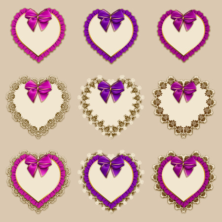 ruffles: Set of elegant templates of heart frame design for luxury invitation, gift card with lace ornament, ruffles, bow, place for text. Vector illustration EPS10