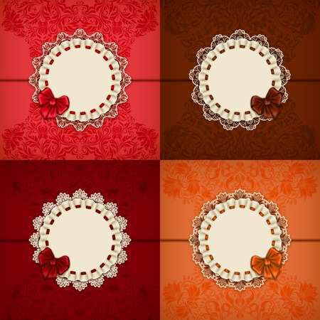 Set of elegant templates for luxury invitation, gift, greeting card with lace ornament, ruffles, ribbon, place for text. Floral elements, ornate background. Vector illustration EPS 10. Vector