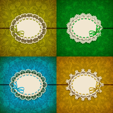ruffles: Set of elegant templates for luxury invitation, gift, greeting card with lace ornament, ruffles, ribbon, place for text. Floral elements, ornate background. Vector illustration EPS 10.