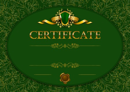 Elegant template of diploma with decoration of lace pattern Vector