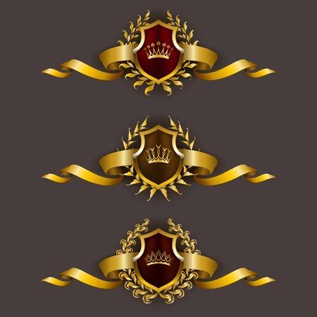 escudo: Conjunto de lujo del vector escudos de oro con coronas de laurel, coronas, cintas. Emblema her�ldico Real, iconos, etiqueta, insignia, blas�n para web, dise�o de p�ginas. Ilustraci�n del vector EPS 10.