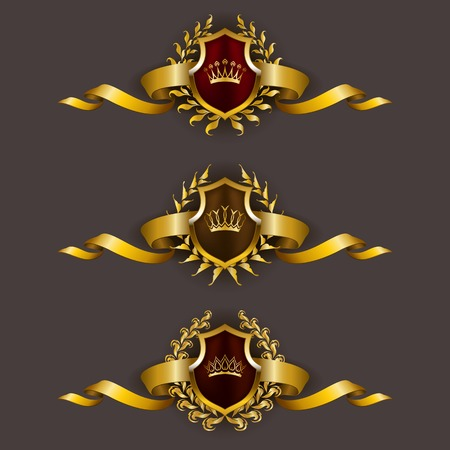 Set of luxury golden vector shields with laurel wreaths, crowns, ribbons. Royal heraldic emblem, icons, label, badge, blazon for web, page design. Vector illustration EPS 10. Çizim