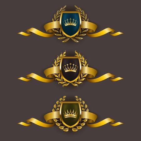 ESCUDO: Conjunto de lujo del vector escudos de oro con coronas de laurel, coronas, cintas. Emblema heráldico Real, iconos, etiqueta, insignia, blasón para web, diseño de páginas. Ilustración del vector EPS 10.