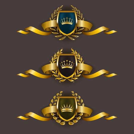 Set of luxury golden vector shields with laurel wreaths, crowns, ribbons. Royal heraldic emblem, icons, label, badge, blazon for web, page design. Vector illustration EPS 10. Stock Illustratie