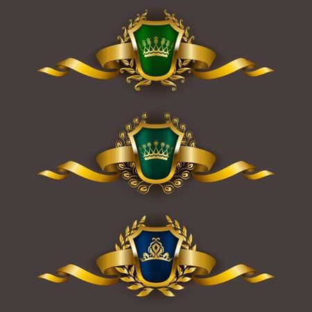 Set of luxury golden vector shields with laurel wreaths, crowns, ribbons. Royal heraldic emblem, icons, label, badge, blazon for web, page design. Vector illustration EPS 10. Illustration