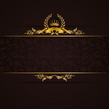 black background: Elegant golden frame banner with gold crown, laurel wreath on ornate black background. Luxury floral background in vintage style. Vector illustration