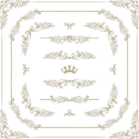 Vector set of gold decorative horizontal floral elements, corners, borders, crown. Page decoration.  イラスト・ベクター素材
