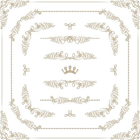 Vector set of gold decorative horizontal floral elements, corners, borders, crown. Page decoration. Illustration