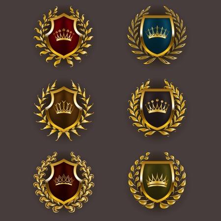 symbol sport: Set von Luxus goldenen vector Schilde mit Lorbeerkranz, Kronen. K�nigliche Wappentier, Symbolen, Etikett, Plakette, Wappen f�r Web, Seiten-Design. Vektor-Illustration