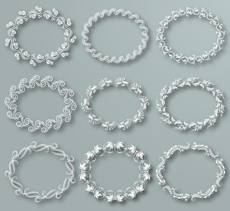 Set of white vector floral frames with shadows on the gray background. Vector illustration EPS10. Vector