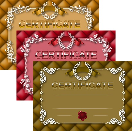 button tufted: Set of elegant template of diploma with decoration of lace pattern, ribbon, wax seal, laurel wreath, button-tufted texture, place for text. Certificate of achievement, education, awards, winner. Vector illustration EPS 10.