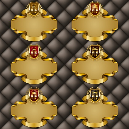 tufted: Set of ornate luxury vintage frames with crowns, shields, ribbons for design invitations, greeting, vip, gift cards, labels with place for text. Vector illustration EPS 10