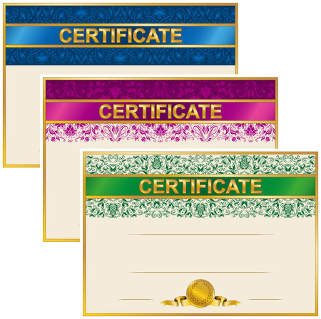 art deco border: Set of elegant templates of diploma with decoration of lace pattern, ribbon, laurel wreath, place for text. Certificate of achievement, education, awards, winner. Vector illustration EPS 8.