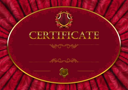 Elegant template of diploma with lace ornament, ribbon, wax seal, drapery fabric, place for text. Certificate of achievement, education, awards, winner.  Vector