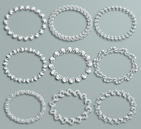 Set of white vector floral frames with shadows on the gray background.  Vector
