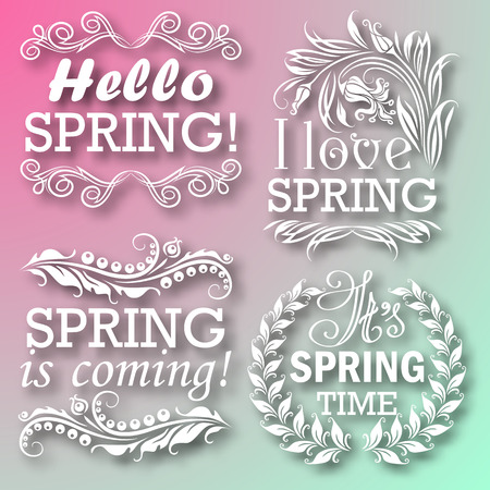 flower concept: Hello Spring, Spring is coming, I love Spring, Its Spring time. Typographic design with text, filigree floral frame, shadow for greeting card, poster. Vector illustration EPS 10.