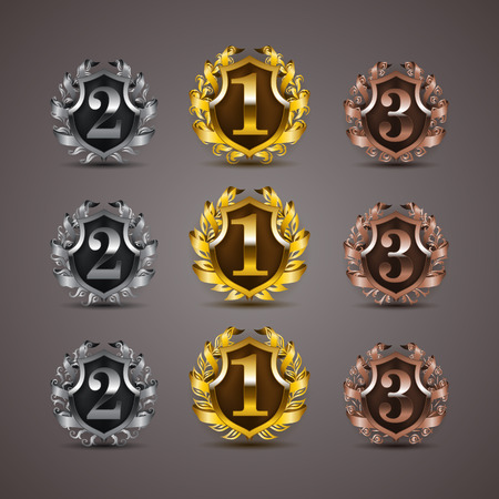 Set of luxury golden vector shields with laurel wreaths, ribbons. 1st, 2nd, 3rd places. Royal heraldic emblem, icons, label, badge, blazon for web, page design. Vector illustration Çizim
