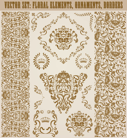 ornaments floral: Set of vector damask ornaments. Floral elements, seamless patterns, borders, arabesque, crowns, laurel wreaths for design. Page decoration in vintage style.