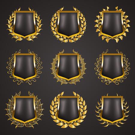 blazon: Set of luxury golden vector shields with laurel wreaths. Royal heraldic emblem, icons, label, badge, blazon for web, page design. Vector illustration EPS 10.