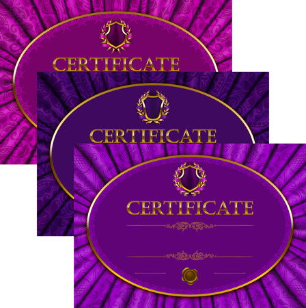 Set of elegant templates of diploma with lace ornament, ribbon, wax seal, drapery fabric, place for text. Certificate of achievement, education, awards, winner. Vector illustration EPS 10. Vector
