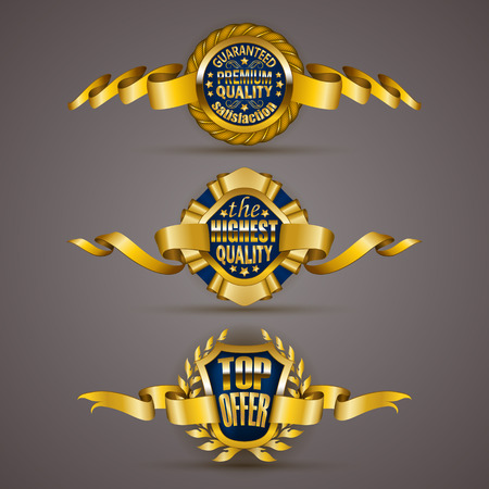 highest: Set of luxury gold badges with stars, laurel wreath, ribbons. Top offer, 100 % highest quality guaranteed. Promotion emblems, icons, labels, medal, blazons for web, page design. Illustration EPS 10.