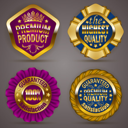 guarantee: Set of luxury gold badges with stars, crown, ribbons. Top offer, product, 100 % highest quality guaranteed. Promotion emblems, icons, labels, medal, blazons for web, page design. Illustration EPS 10.