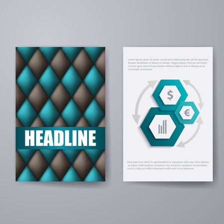 tufted: Set of templates for brochure, poster, placard, banner, cover design with business infographic in geometric graphic style. Abstract modern back and front flyer backgrounds.