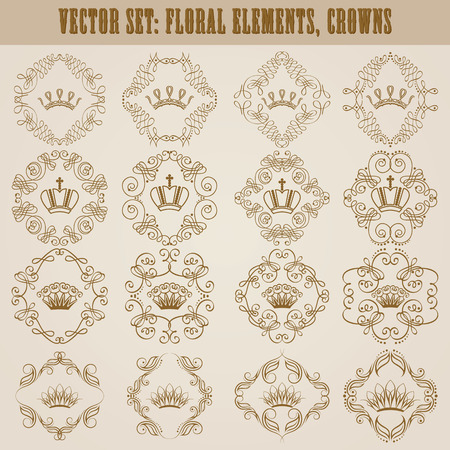 coronation: Ornate set of decorative victorian crowns and heraldic floral elements for page, logo, icon design. Luxury monograms in vintage style. Vector illustration EPS 8.