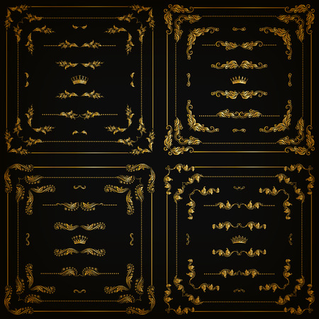 Vector set of gold decorative horizontal floral elements, corners, borders, frame, dividers, crown on black background. Page, web site decoration. Vector illustartion EPS 10. Çizim