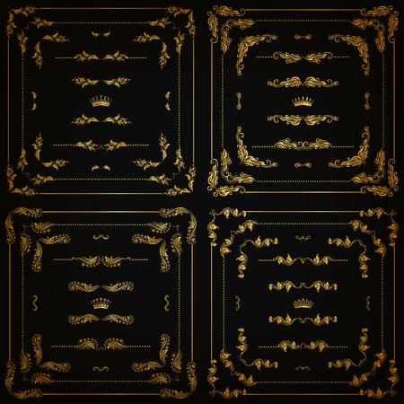 Vector set van gouden decoratieve horizontale bloemen elementen, hoeken, grenzen, frame, verdelers, kroon op zwarte achtergrond. Pagina, website decoratie. Vector illustartion EPS 10. Stock Illustratie