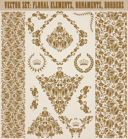 ornaments vector: Set of vector damask ornaments. Hand-drawn floral elements, seamless patterns, borders, arabesque, crowns, laurel wreaths for design. Page decoration in vintage style.
