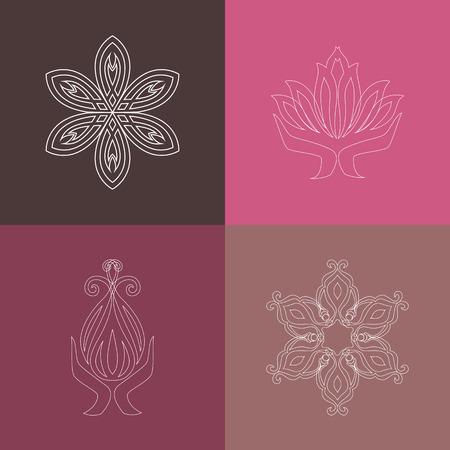 vida natural: Conjunto de vector logos, iconos de estilo de esquema. Colección de elementos de líneas gráficas para estudio de diseño del logotipo de la yoga, clase, club, spa, gimnasio. Ilustración del vector EPS 8. Vectores