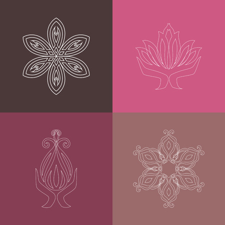 yoga class: Set of vector logos, icons in outline style. Collection of graphic line elements  for design logo yoga studio, class, club, spa, fitness center. Vector illustration EPS 8.