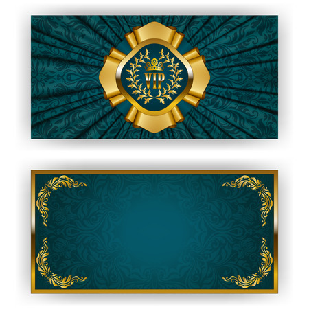 Elegant template for luxury invitation, gift card with lace ornament, crown, ribbon, laurel wreath, drapery fabric, place for text. Floral elements, ornate background. Vector illustration EPS 10. Illustration