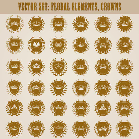 Set of luxury golden vector shields with laurel wreaths, crowns. Royal heraldic element, emblem, icon, symbol, label, badge, blazon for web, page design.
