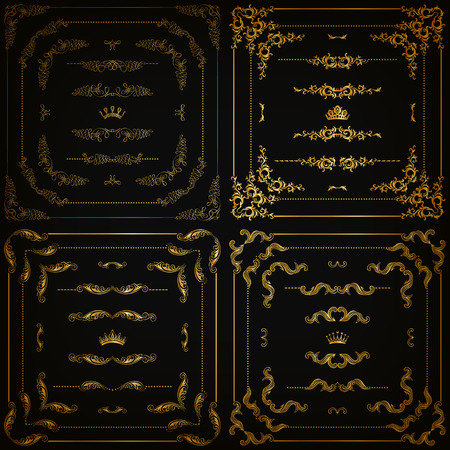 Vector set of gold decorative horizontal floral elements corners borders frame dividers crown on black background. Page web site decoration.  Çizim