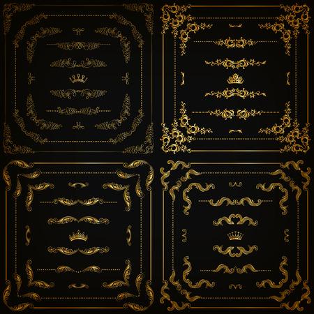 Vector set of gold decorative horizontal floral elements corners borders frame dividers crown on black background. Page web site decoration.  Illustration