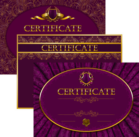 Set of elegant templates of diploma with lace ornament ribbon wax seal drapery fabric place for text. Certificate of achievement education awards winner.  Vector
