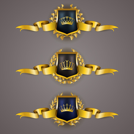 shield logo: Set of luxury golden vector shields with laurel wreaths crowns ribbons. Royal heraldic emblem icons label badge blazon for web page design. Vector illustration