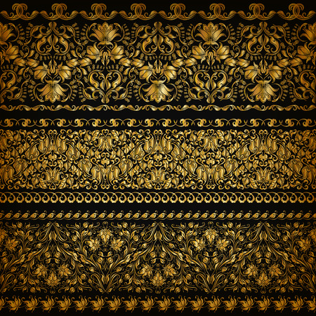 an ornament: Set of horizontal golden lace pattern, decorative elements, borders for design. Seamless floral ornament. Page decoration.