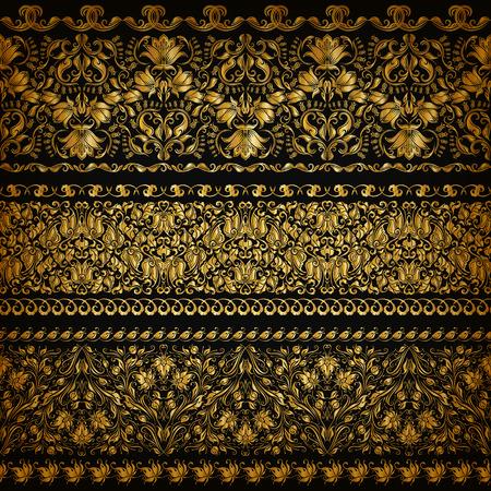 ornament: Set of horizontal golden lace pattern, decorative elements, borders for design. Seamless floral ornament. Page decoration.