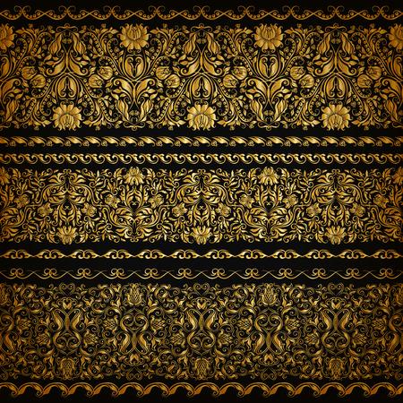 bordes decorativos: Conjunto de patrón horizontal de oro encajes, elementos decorativos, las fronteras para el diseño. Ornamento floral transparente. Decoración de página. Ilustración del vector EPS 10.