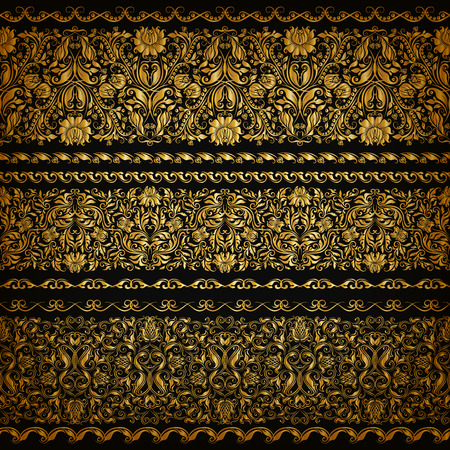 ornamental borders: Set of horizontal golden lace pattern, decorative elements, borders for design. Seamless floral ornament. Page decoration. Vector illustration EPS 10. Illustration
