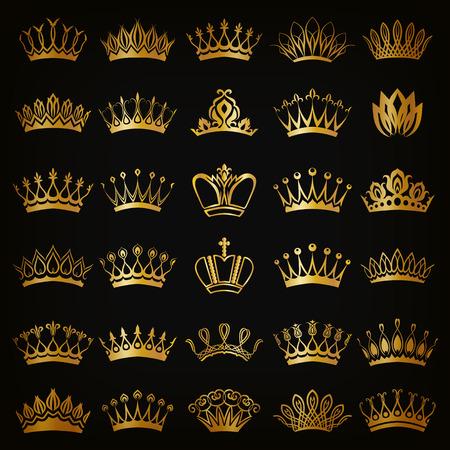 corona real: Conjunto de decoración victoriana coronas de oro para el diseño sobre fondo negro. En el estilo vintage. Ilustración del vector EPS 10.