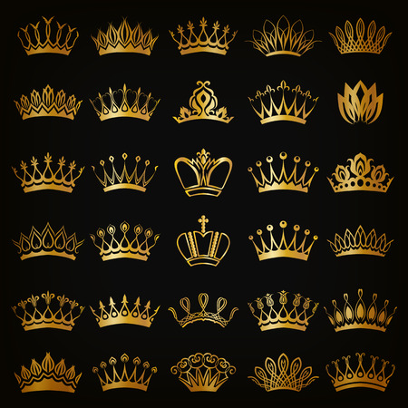 Set of decorative victorian golden crowns for design on black background. In vintage style. Vector illustration EPS 10. Vectores