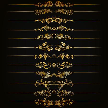 Ensemble de vecteur d'or diviseurs en filigrane floral. Éléments floraux décoratifs, les frontières de la page, site de décoration. Vector illustration EPS 10. Banque d'images - 40978980