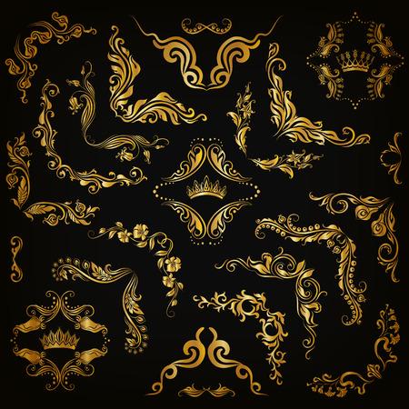 Vector set van goud decoratieve hand getekende florale elementen, filigraan hoeken, randen, frame, kroon, monogrammen op een zwarte achtergrond. Pagina, website decoratie in vintage stijl. Vector illustratie eps 10